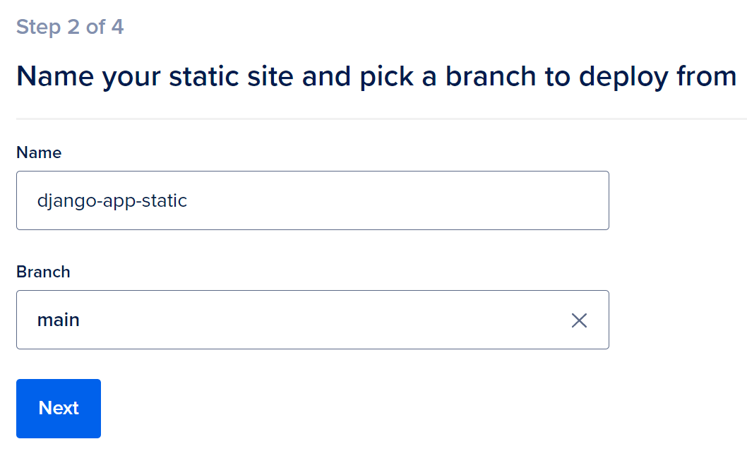 Set Static Site Name and Branch