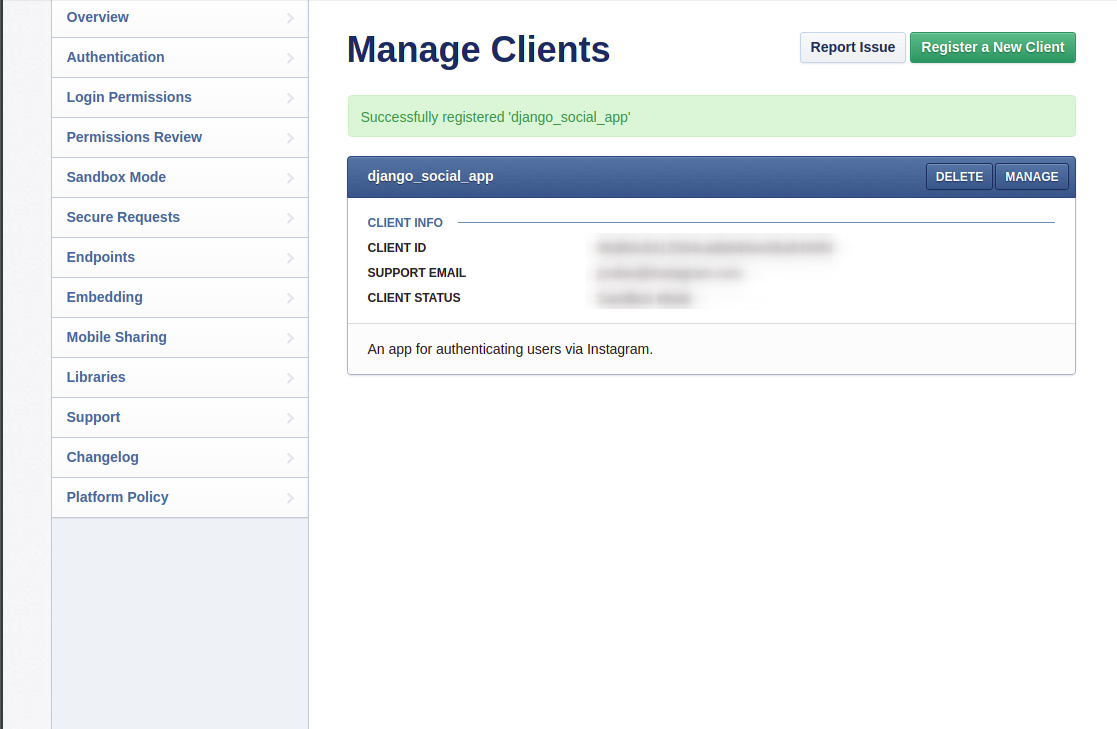 Instagram manage clients page