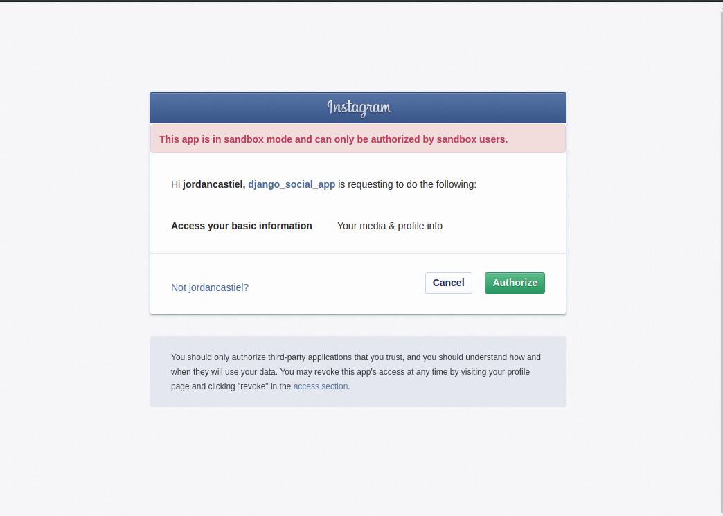 Screenshot of Instagram login with warning