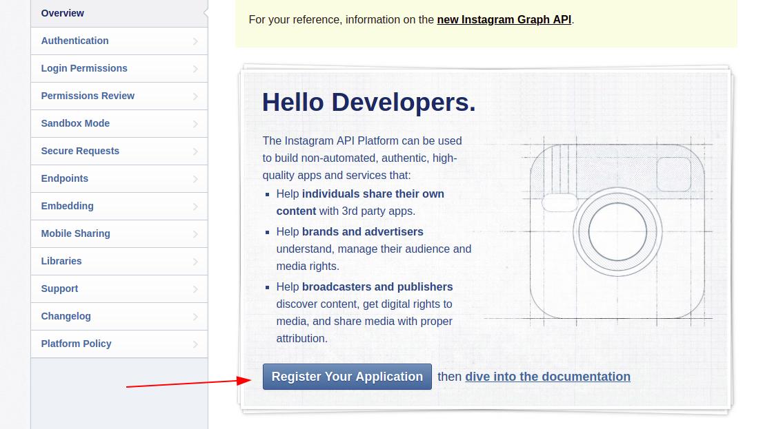 Instagram register application page