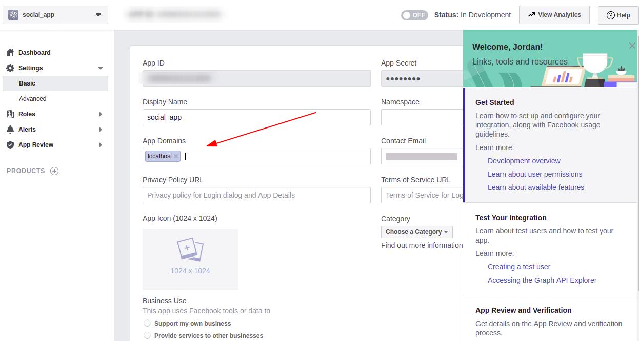 Screenshot of app form