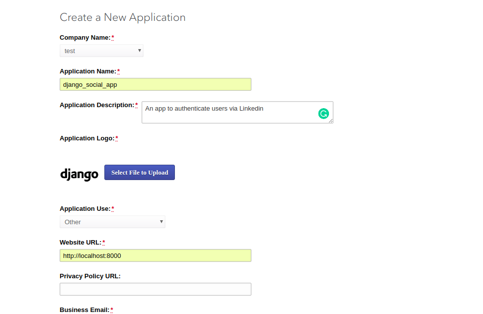 LinkedIn create a new app page