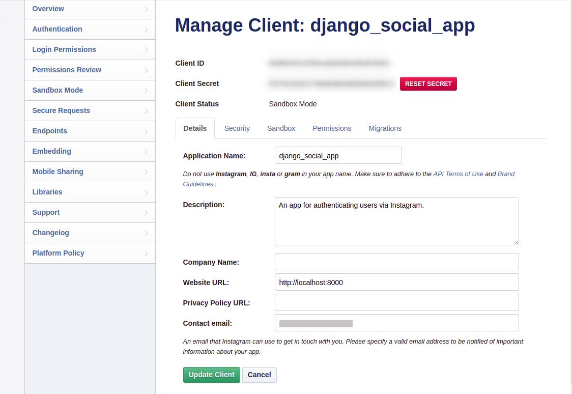 App manage client and secret on Instagram