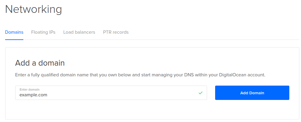 Add a new DigitalOcean domain