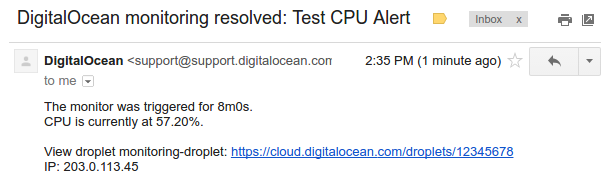 DigitalOcean resolution email body