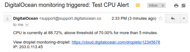 DigitalOcean trigger email body