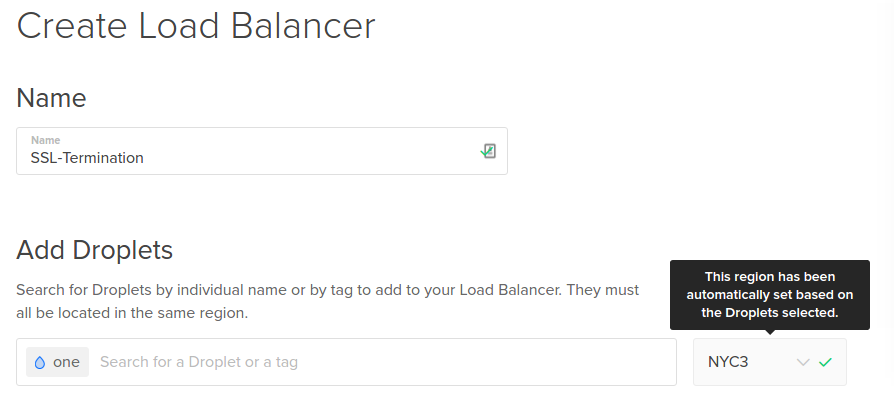 Add first backend Droplet to the Load Balancer