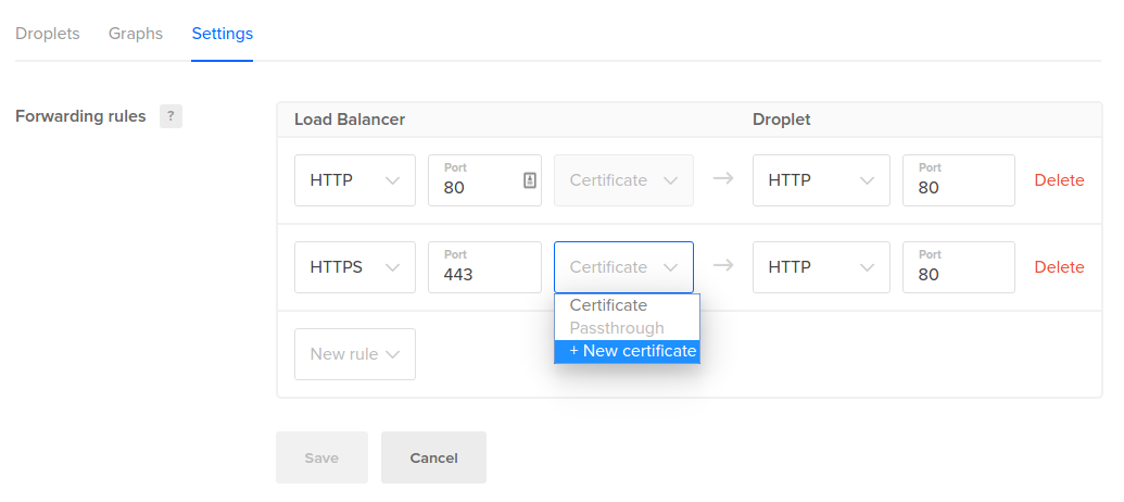 DigitalOcean Load Balancer new cert button
