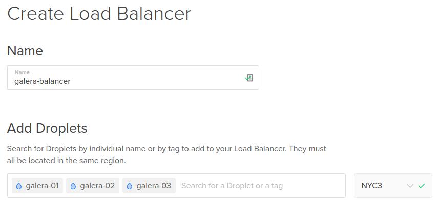 Add Galera nodes to Load Balancer