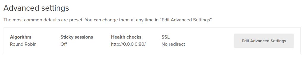 Edit advanced settings in DigitalOcean Load Balancer