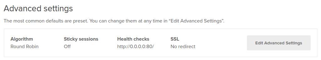 Edit advanced settings in DigitalOcean Load Balancer