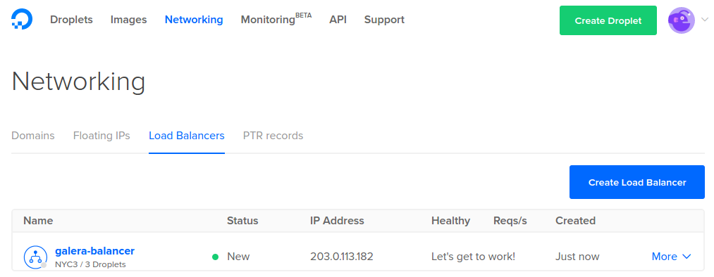 Find DigitalOcean Load Balancer IP address