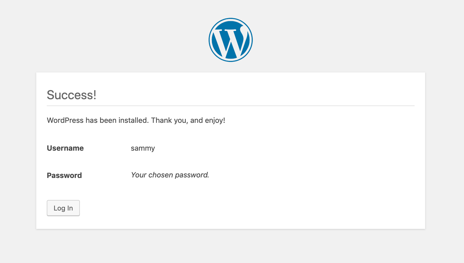 Tela de Log-in do WordPress