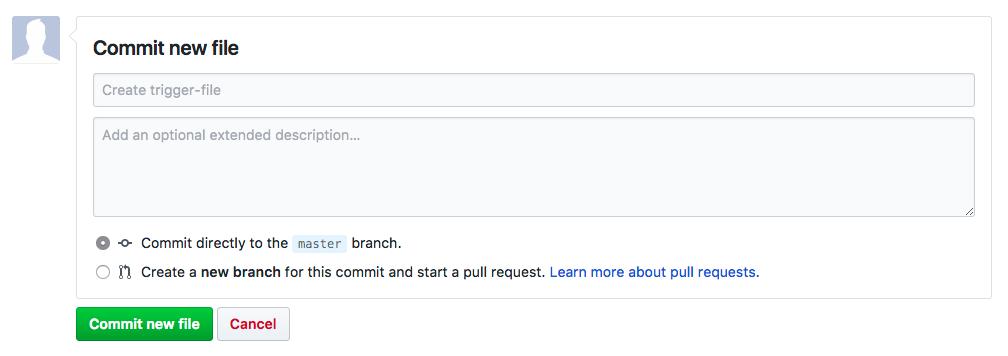 Commit new file on GitHub screenshot