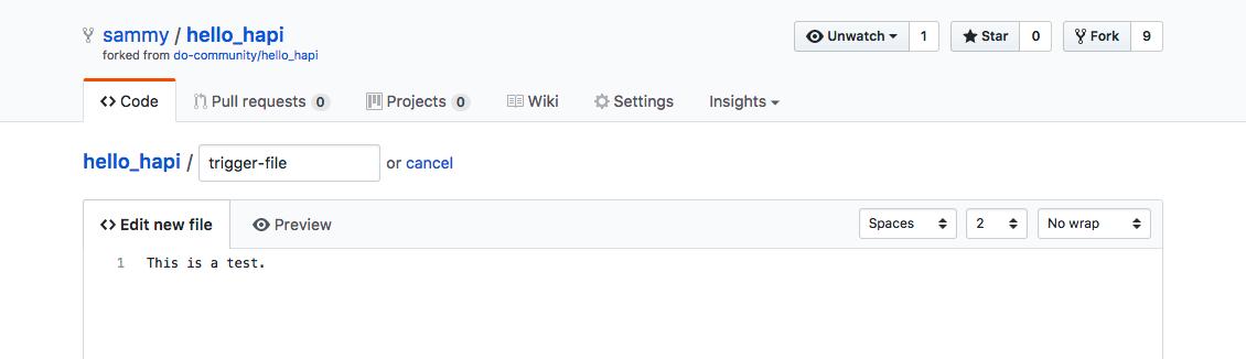 Filename and content creation on GitHub screenshot