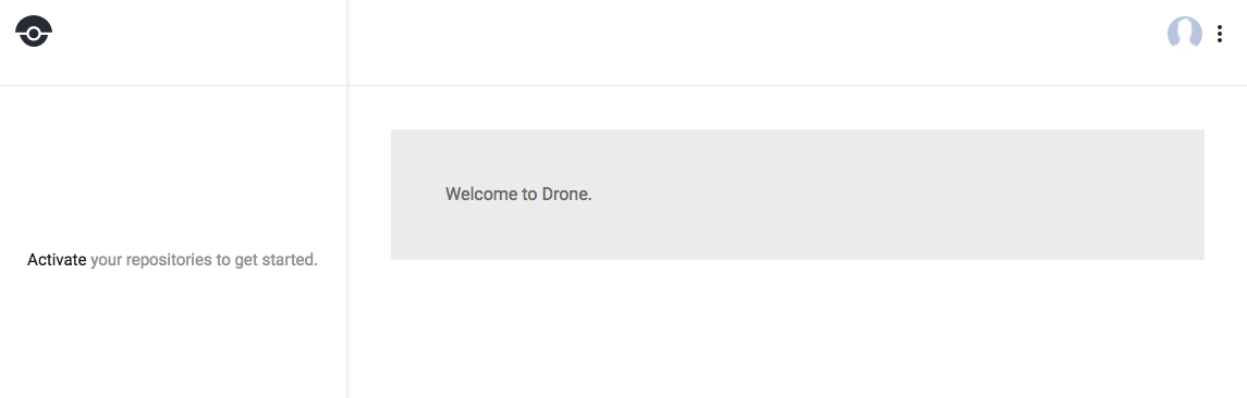 Drone default logged in screen