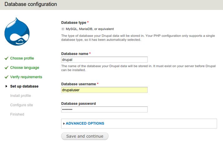 Drupal database config