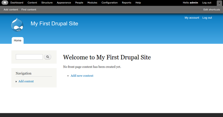 Drupal completed install