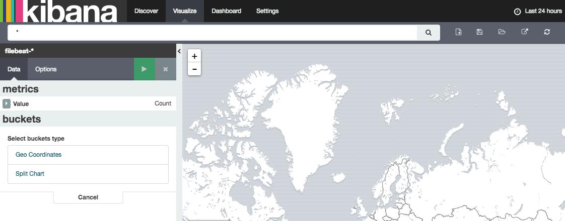 Kibana default tile map building interface