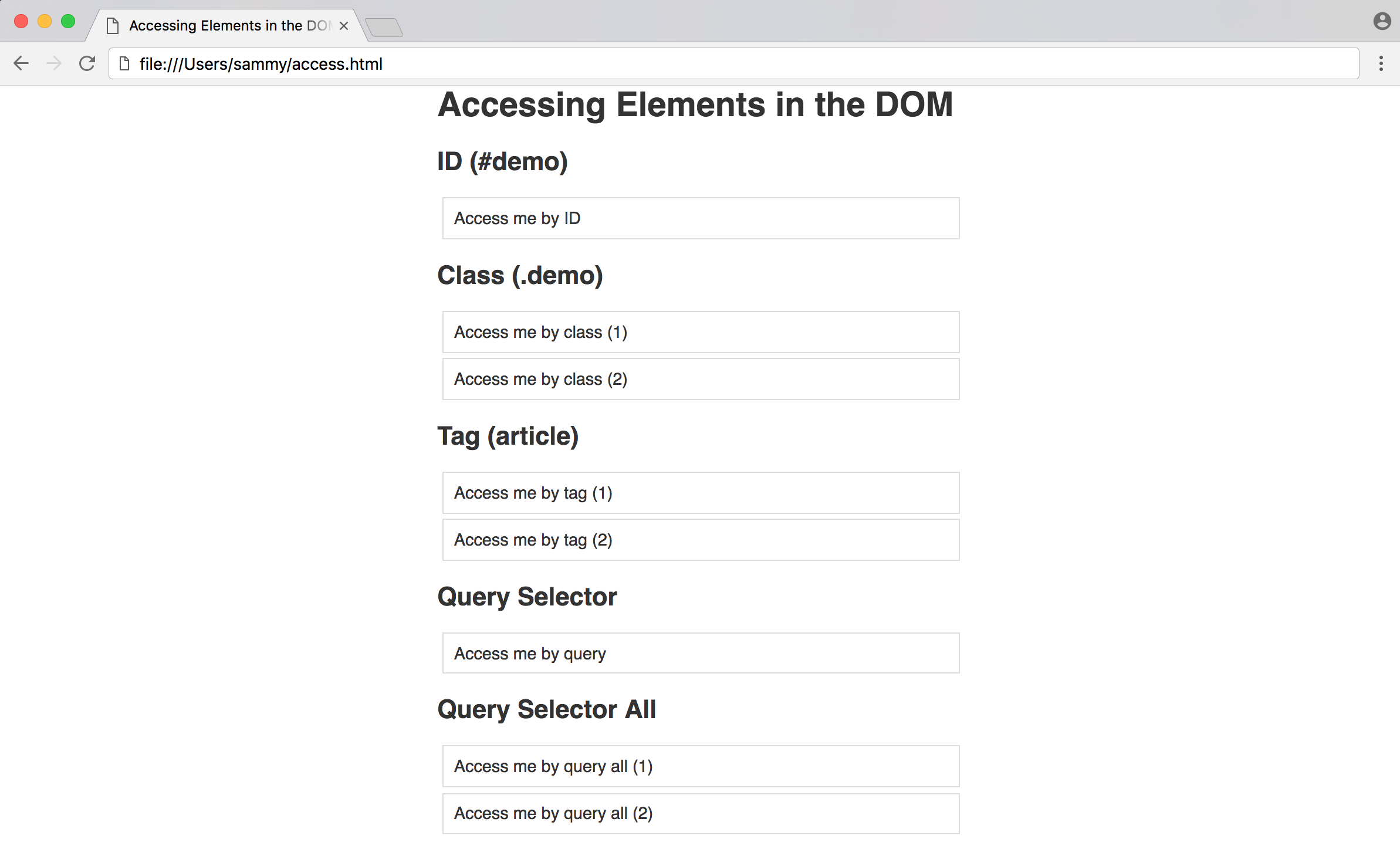 Methods for Accessing Elements in the DOM File with JavaScript
