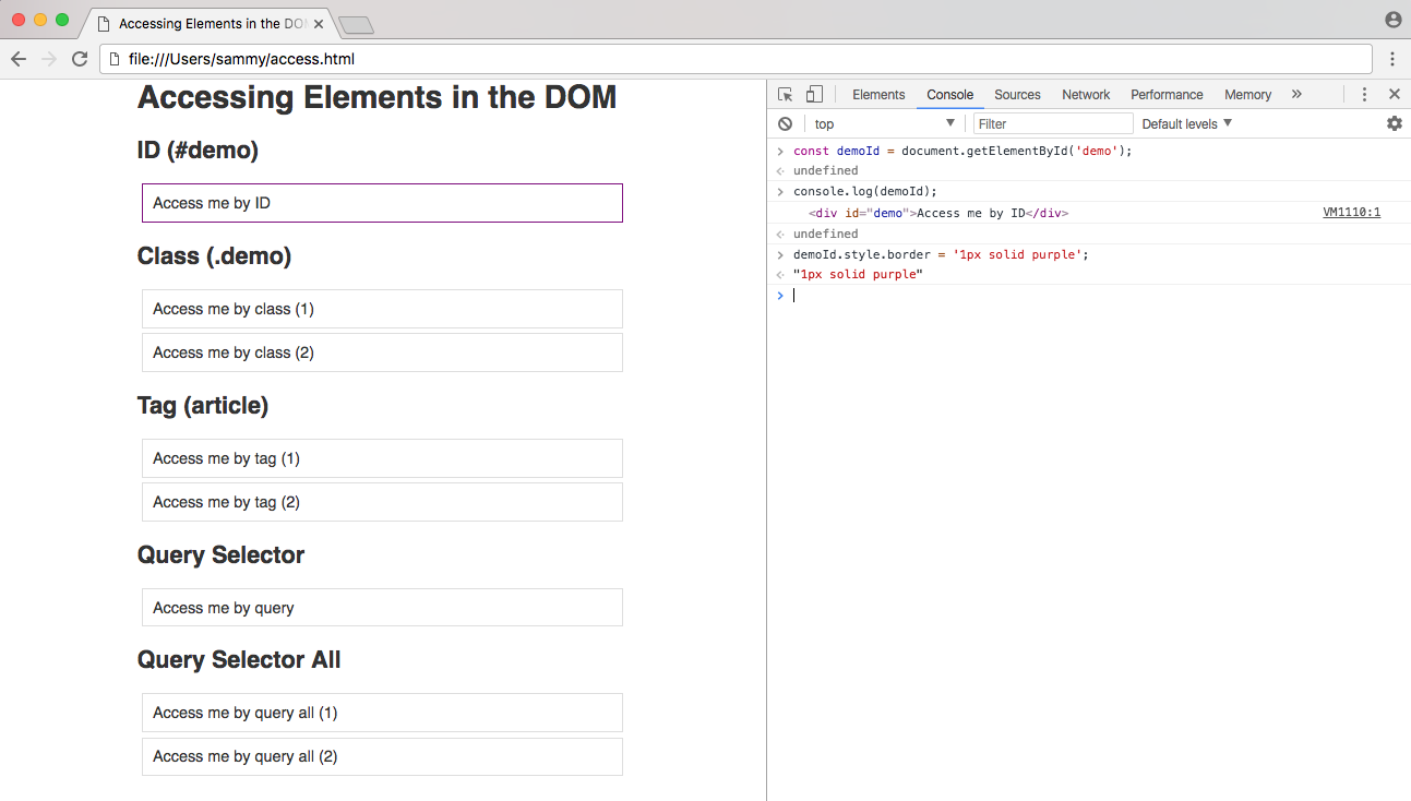 Methods for Accessing Elements in the DOM File with