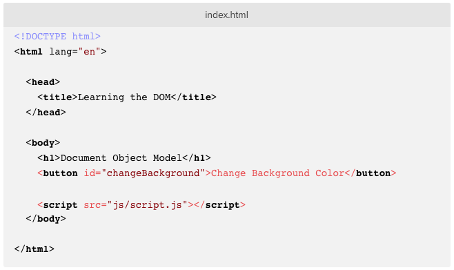 index.html with JavaScript button added