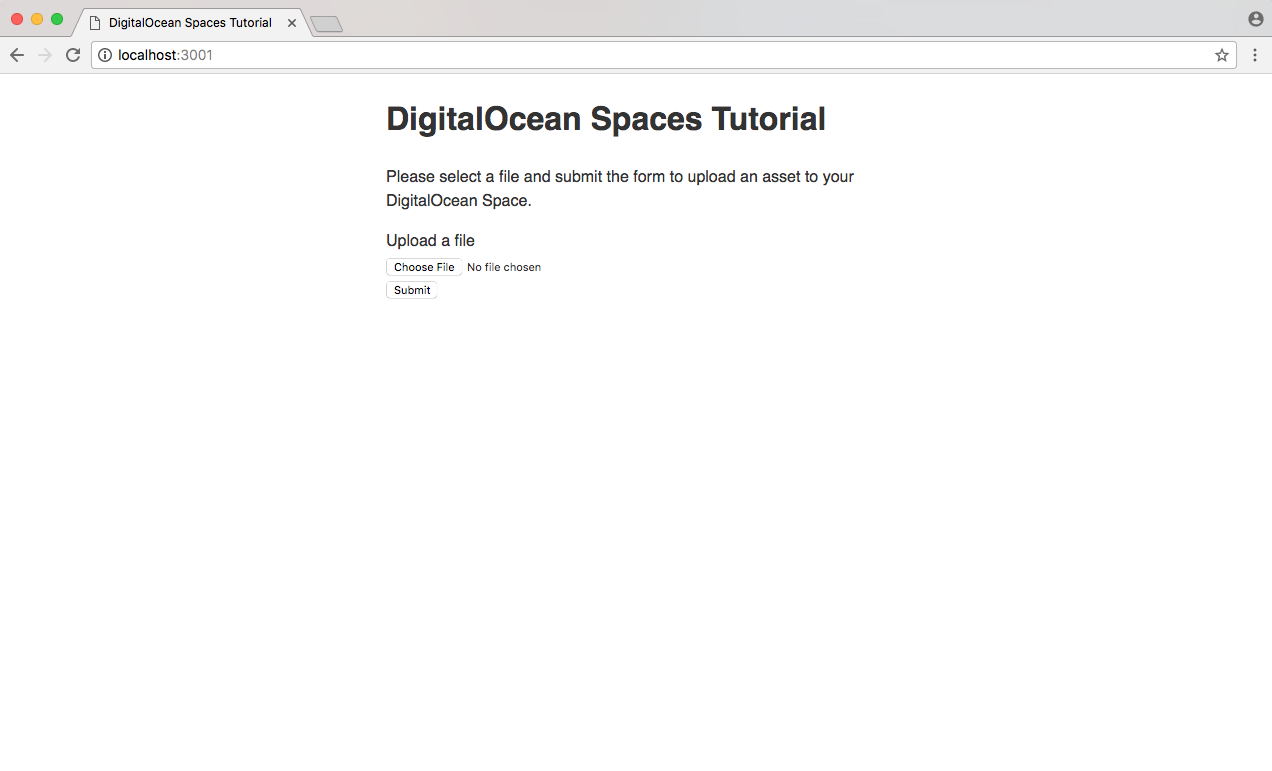 Building a Node js App for Use with DigitalOcean Spaces