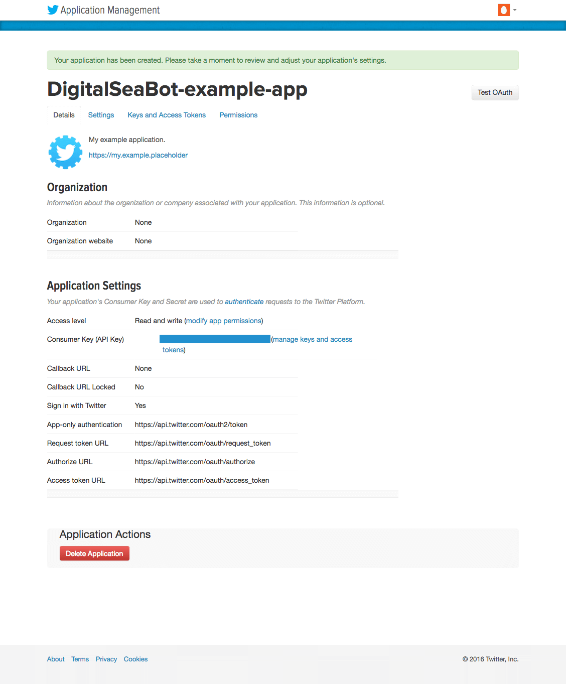 Twitter application creation confirmation page