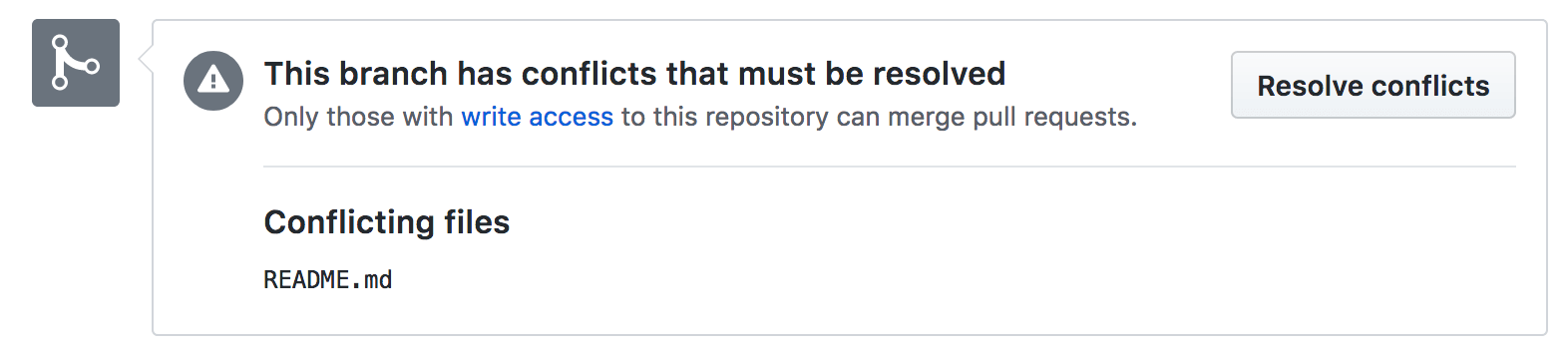 GitHub pull request conflicts