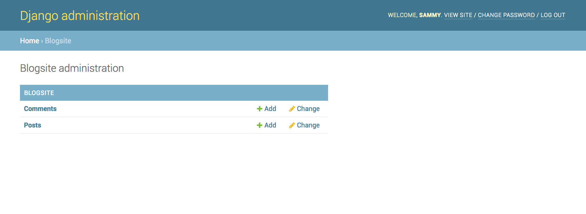 Django Blogsite Admin Page
