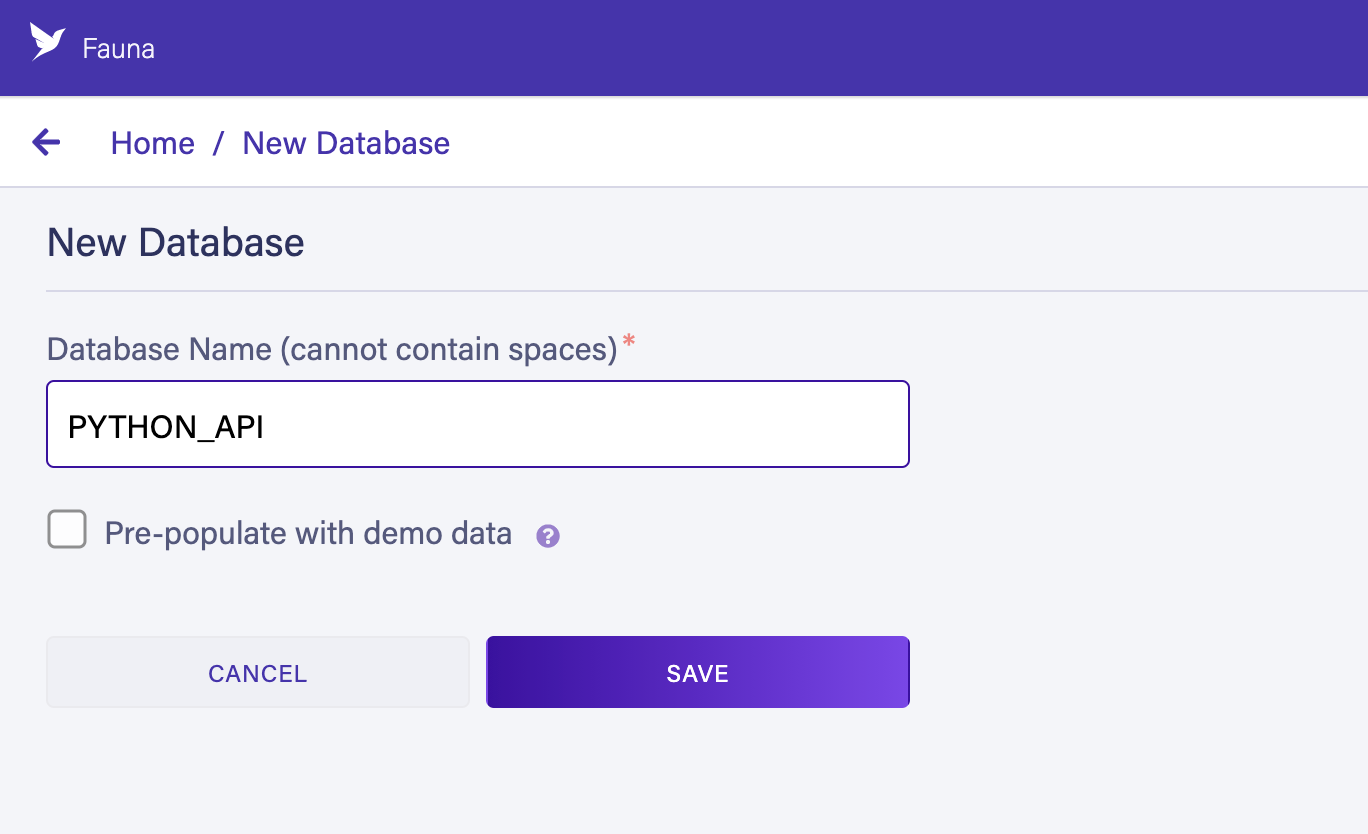 Creating a Fauna database