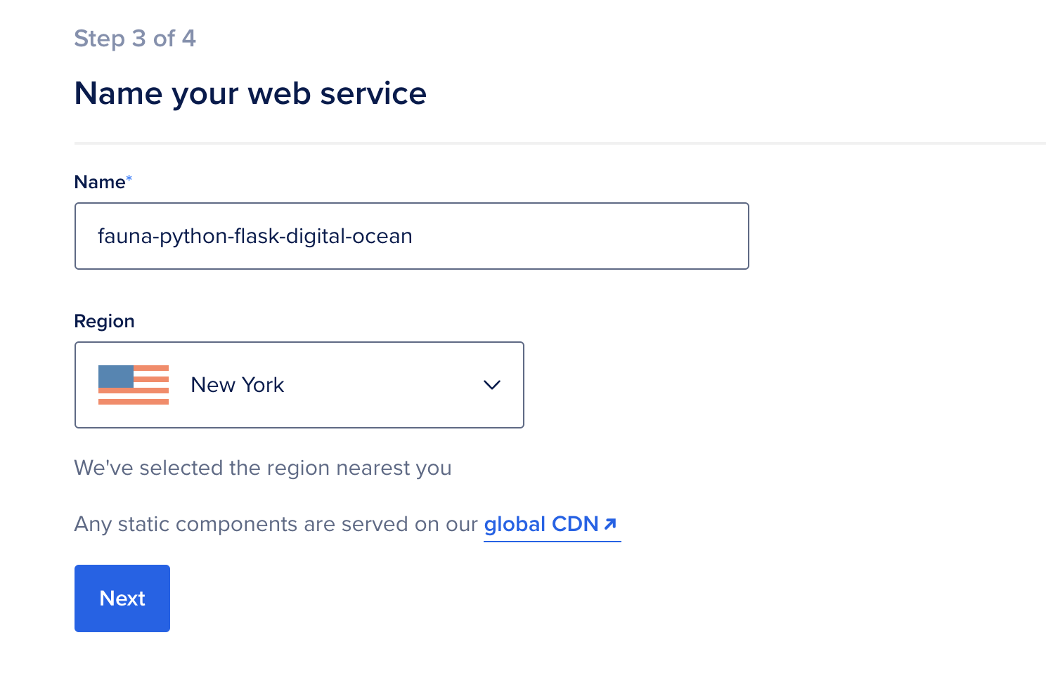 Configuring the name of the app and deploy region