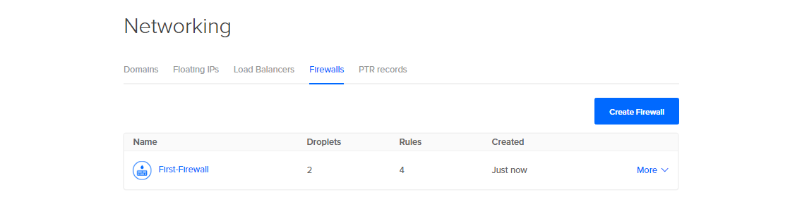 Screenshot of Networking > Firewalls with First-Firewall displayed