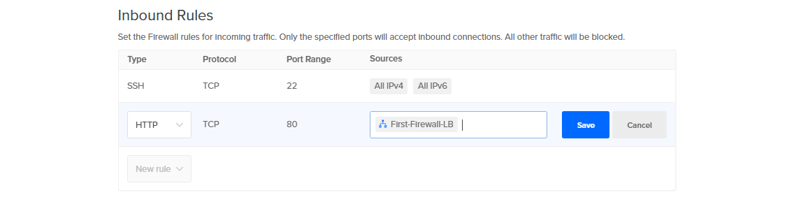 Screenshot of Inbound Rule with First-Firewall-LB selected
