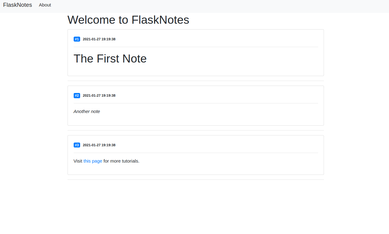 Flask Notes Index