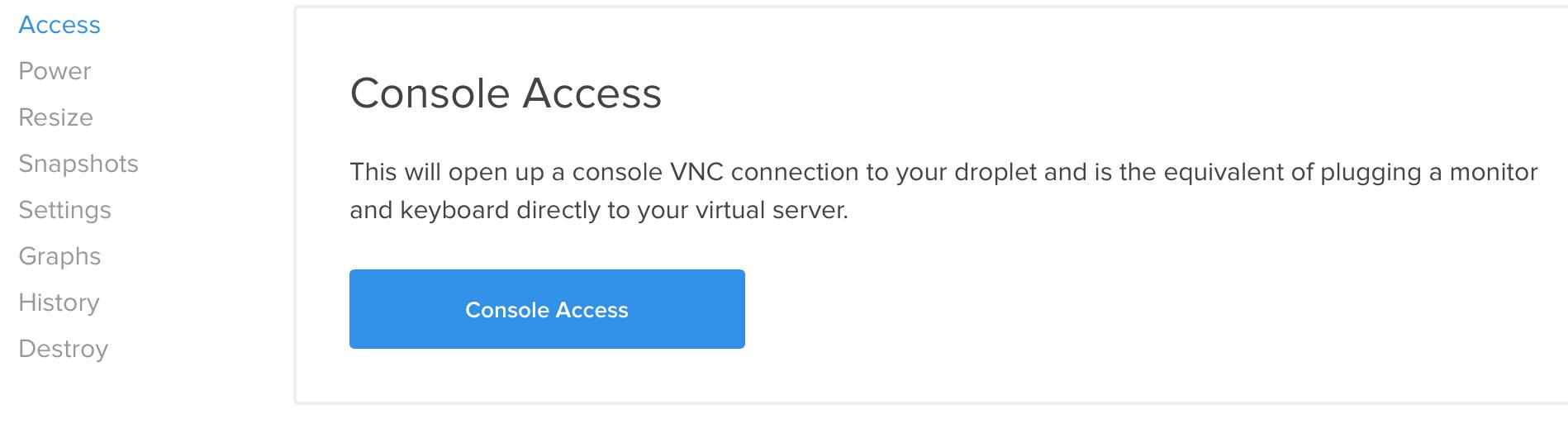 DigitalOcean console access