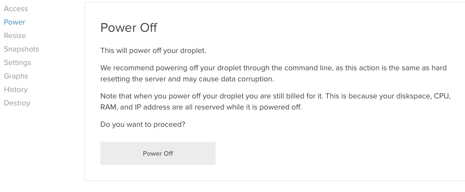DigitalOcean power off