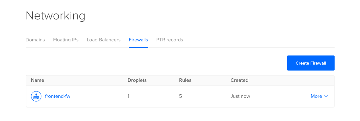 Firewall summary with the frontend rule listed