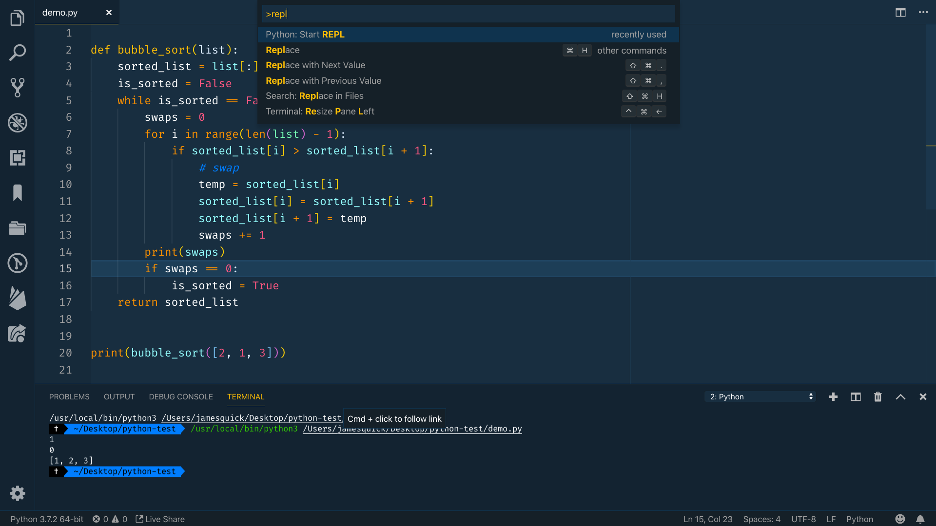 Python Start REPL selected in the command palette