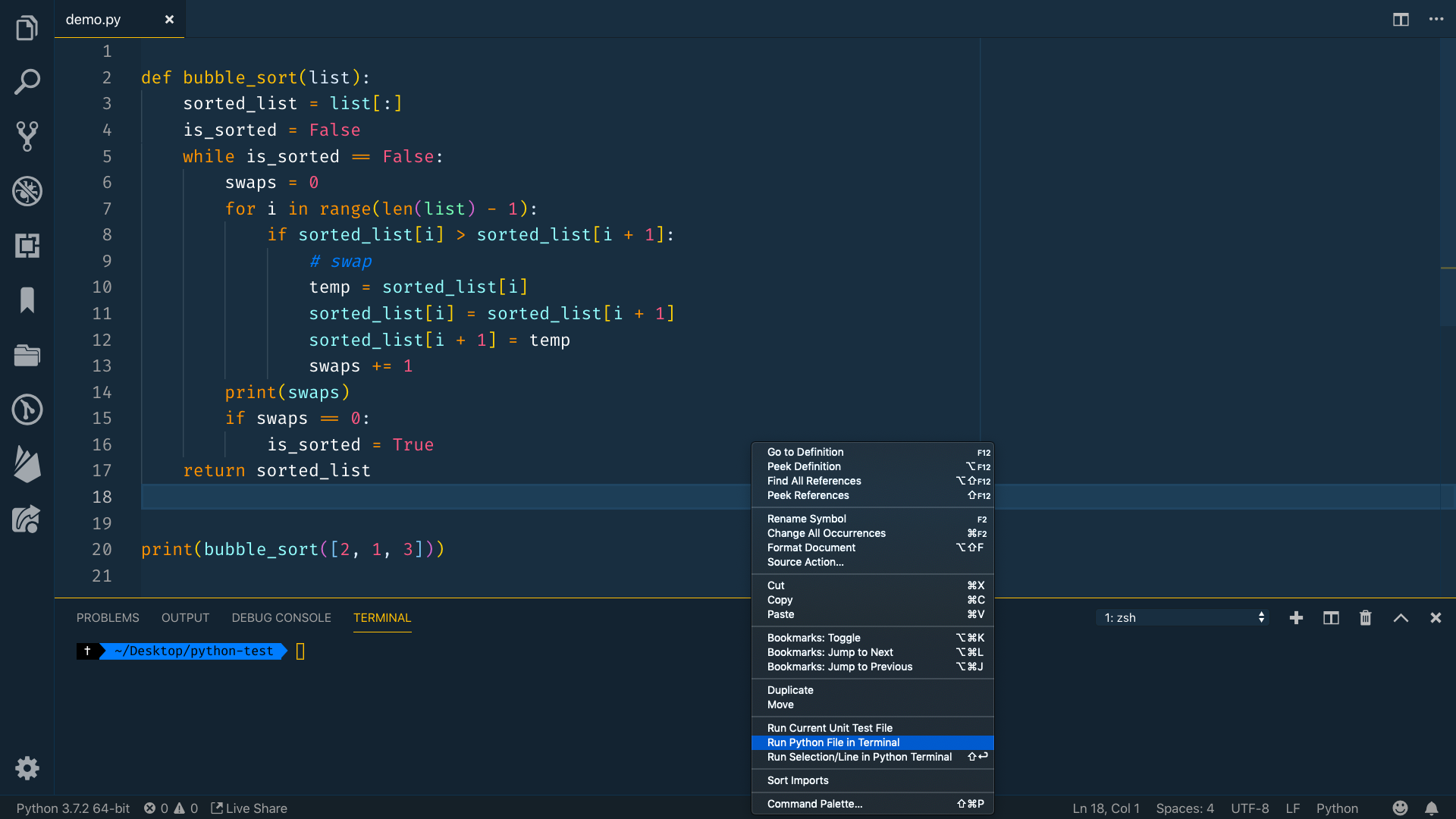 algorithm in the editor with menu up and Run Python File In Terminal selected