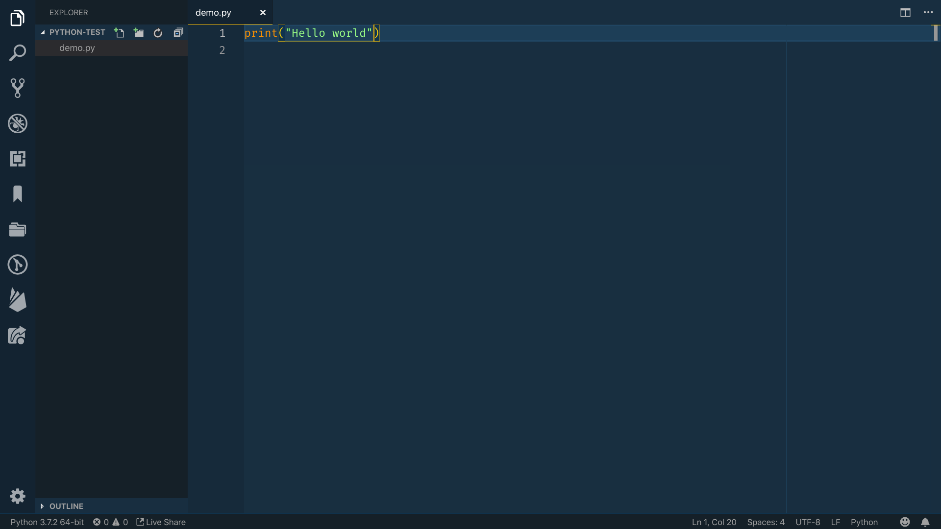 """""""Hello World"""" type into the editor within a print function in Python"""