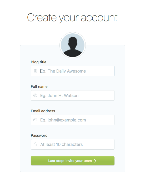 Create account screen
