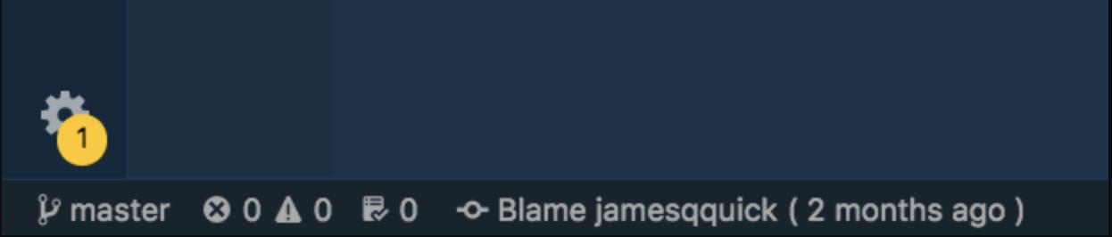 Git Blame di bilah alat bawah
