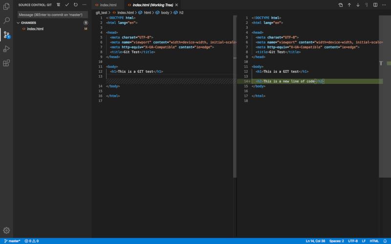 Tangkapan layar dengan contoh tampilan layar belah dari diff