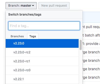 git change branch select tags