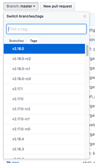 git change branch select tags