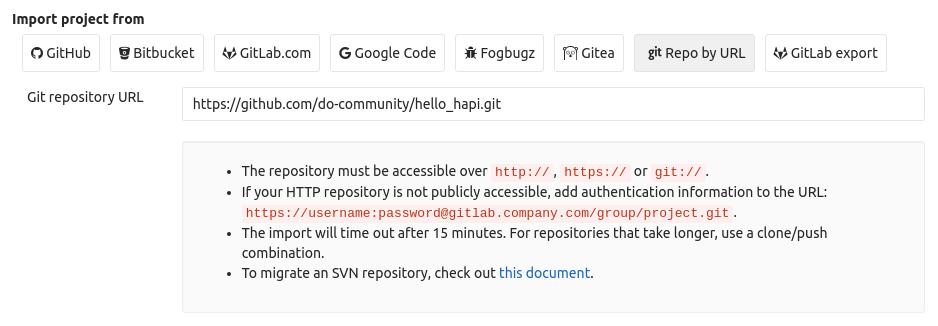 GitLab new project GitHub URL