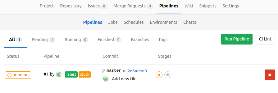 GitLab pipeline index stuck