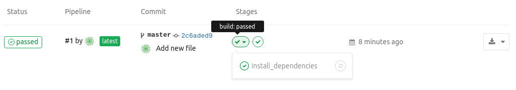 GitLab CI pipeline run stage_view