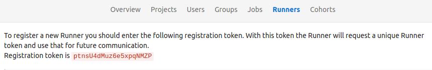 GitLab shared runner token